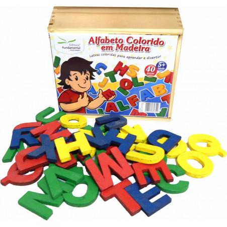 Alfabeto Móvel Colorido em Madeira com 40 peças