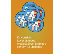 Adesivo Lavar as Mãos Covid-19 (Kit com 12 unidades)