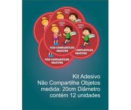 Adesivo Não Compartilhe Objetos Covid-19 (Kit com 12 unidades)