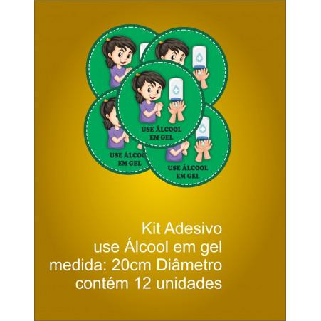 Adesivo Use Álcool em Gel Covid-19 (Kit com 12 unidades)