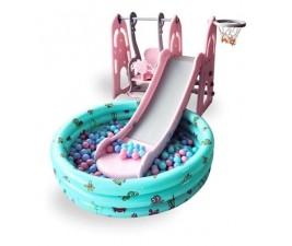 Playground 4 em 1 com Piscina de Bolinhas - Rosa
