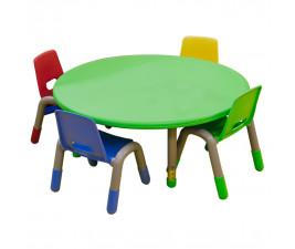 Mesa Redonda Infantil em Plástico com pés reguláveis