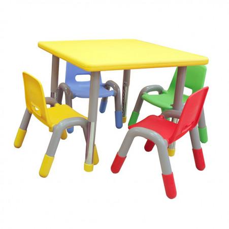 Mesa Quadrada Infantil em Plástico com pés reguláveis