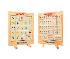 Alfabeto Giratório em Madeira com 25 peças