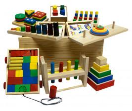 Baú Pedagógico com 10 Brinquedos em Madeira