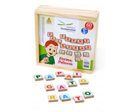 Jogo Forme Palavras em Madeira com 60 peças