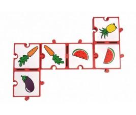 Dominó Frutas e Legumes Encaixável com 28 peças